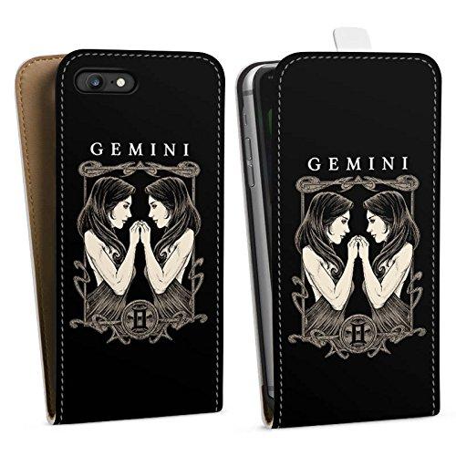 Apple iPhone X Silikon Hülle Case Schutzhülle Zwilling Sternzeichen Astrologie Downflip Tasche weiß