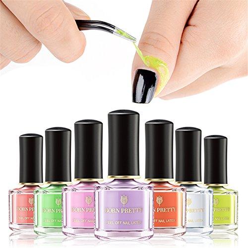 BORN PRETTY Latex Klebeband Peel Off Cuticle Guard Nagelpflege Protector Geruchfreie Flüssigkeit Band 6 ml 7 Farben