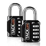 TACKLIFE HCL1B Lucchetto a combinazione, Serratura a combinazione a 4 posizioni per impieghi gravosi, serrature per bagagli per uso quotidiano interno ed esterno (2 pezzi)