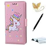 iPhone 6S Plus Handyhülle,iPhone 6 Plus Hülle,TOUCASA Geprägtes Buntes Einhorn Premium PU Leder Flip Wallet Schutzhülle Stoßfest Bumper Magnetic Case Hülle für Apple iPhone 6 Plus/iPhone 6S Plus-Rosa