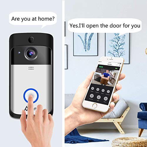 Wireless Video Doorbell Accfly WiFi Smart Doorbell with Chime 16G Card 720P HD 166° Wide Angle Door View Security Camera 2-Way Talk
