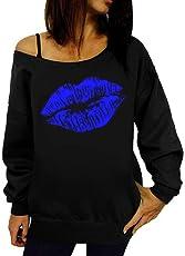 BaZhaHei Damen Sweatshirt Frauen Printed Long Sleeve Sweatshirt Pullover Tops Bluse Shirt Trägerlose Schulter Lange Ärmel Drucken Ärmel Sweatshirt