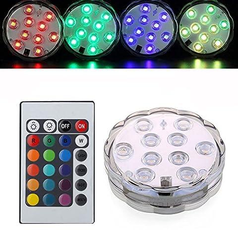 KIWISUNNY 10 LEDs RGB Éclairages Submersible LED avec télécommande,Multi Color Clignotant étanche lumière vive pour le mariage/Fête/Noël/Piscine/Décorations Fish