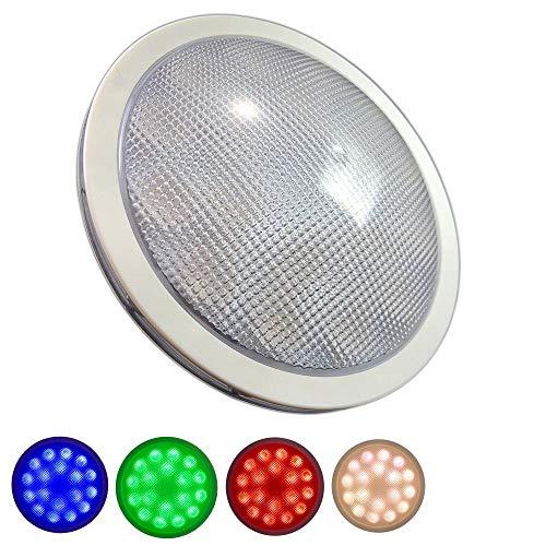 PAR56 LED RGBW RGB+Warmweiß 18x 4 Watt Poolbeleuchtung mit RGB Farbwechsel und echten warmweißem Licht im Edelstahlgehäuse mit Kunststoffabdeckung für Pool Schwimmbecken