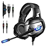 ONIKUMA Stereo Cuffie Gaming per PC, PS4, Xbox One, 7,1 Suono Surround Migliorato, Cuffie con Microfono a Cancellazione Rumore Aggiornate, Morbido Cuscino, Muto e Volume Controllo Per Nintendo Switch
