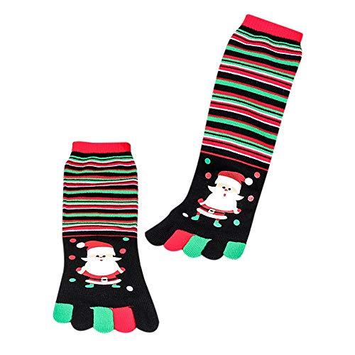 ODJOY-FAN Weihnachten Fünf Finger Socken, Weihnachten 3D Drucken Kurz Socken Unisex Socken Gedruckt Mehrfarbig Zehe Socken Baumwolle Komisch Socken Casual Socks (C,1 PC)