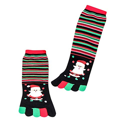 YWLINK Herren Damen Baumwolle Weihnachtsmann Drucken Multicolor Zehensocken FüNf Finger Midrohrsocken Socken Lustige Socken ()