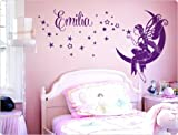 'I Love de pared adhesivo 11610 – Adhesivo de pared 'Luna Hada con nombre personalizada Diseño pared decorativo para pared, diseño infantil individuales habitación de los Niños Decoración Pared Infantil (Nombre Personalizado Nombre Hada infantil nombre etiqueta con nombres niña Chica habitaciones Decorar Consejo, Ideas pared decoración decoración de pared – cuadro de pared gestaltung Tattoo, beige, 58 cm x 32 cm