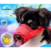 Orchidtent Perro Bozal Respirable Nylon Malla Ajustable Hocicos para Medio Grande Perros Ladrido Mordaz Masticación Bozales para Mascotas con Velcro (XL, rojo)