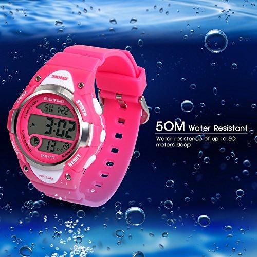 Hiwatch-Kids-Sport-Watch-164-Feet-Waterproof-LED-Digital-Watch-for-Girls-Rose-Red