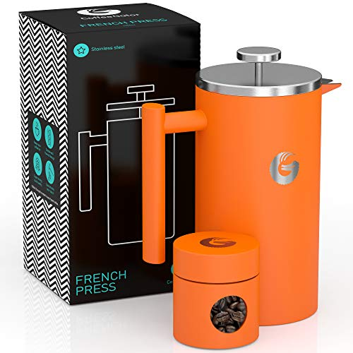 Coffee Gator French Press Kaffeemaschine - Heißer-für-länger Thermobrüher mit weniger Ablagerungen - Plus Behälter - Großes Fassungsvermögen, doppelwandig isoliert - Edelstahl - 1 Liter - Orange