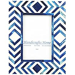 Kunsthandwerk Home 4x 6Foto Rahmen Blau Weiß Bone Mosaik Marokkanische Bilderrahmen, Chevron, 10 x 15 cm