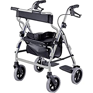 NRS Healthcare 2-in-1 Rollator and Transit Chair M58203 Lightweight Aluminium Frame – Height Adjustable (Eligible for VAT relief in the UK)