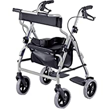NRS Healthcare 2-in-1 Rollator and Transit Chair M58203 Lightweight Aluminium Frame - Height Adjustable (Eligible for VAT Relief in The UK)