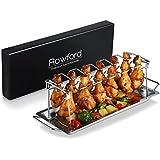 Hähnchenschenkel-Halter von Rawford mit Platz für 12 Keulen - Für perfekt gegrillte Chicken Wings - Zusammenlegbarer Hähnchen Grill Ständer aus Edelstahl