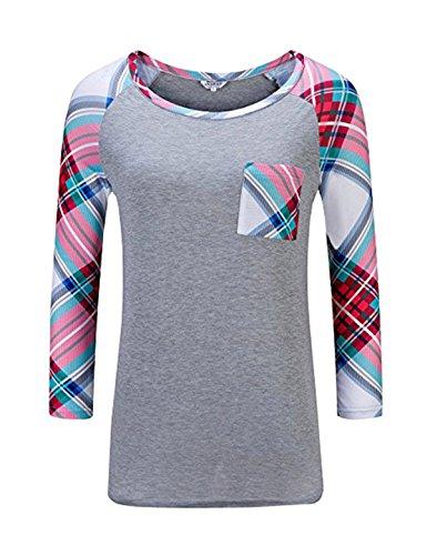 YPtong Donna Felpa Girocollo Top Magliette Maniche Lunghe Eleganti Felpe Stampate T-Shirt Casual Sweatshirt Grigio