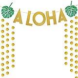 SIMUER Glitter Paper Garland Circle Dots Oro Glitter Aloha Banner Garland para Tropical Hawaiian Luau Theme Party Decoración