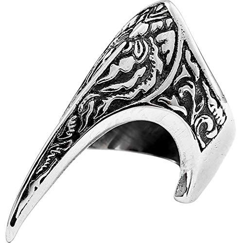 Selbstverteidigung Ring, Titan Stahl Finger Ringe Vintage geschnitzten Modering unzerstörbar,Männer und Frauen Unisex Cooler Ring,S