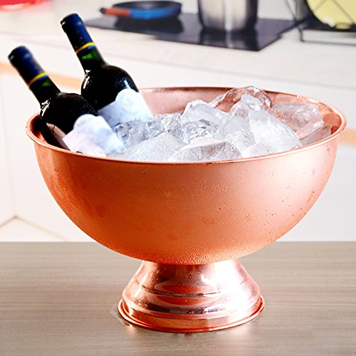 ZYDQ Großer Champagner-Eiskübel Traditioneller Eiskübel Geeignet für Familien, kleine Partys Für Wein oder Champagner Eiskübel Edelstahl Kupfer Farbe
