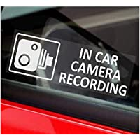 Platinum Place 5 x Small In Car Camera Recording Stickers-CCTV Signs-Van,Lorry,Truck,Taxi,Bus,Mini Cab,Minicab-Security-Window-Go Pro,Dashcam White on Clear Window Version