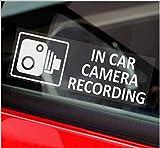 5x Stickers pour fenêtre 'In Car Camera Recording' (en anglais) - 87mm x 30mm Blanc sur panneau de caméra de surveillance clair - pour van, camion, taxi, bus, dashcam de sécurité dans mini-taxi
