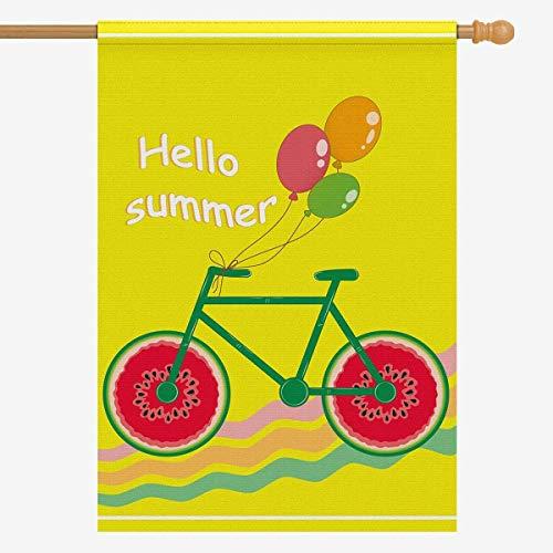 Muccum Hallo Sommer Fahrrad Polyester Garten Flagge Außen Banner 28 x 40 Zoll, Fahrradräder Wassermelone mit Luftballons dekorative große Hausflaggen für Party Yard
