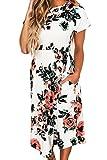 Yieune Sommerkleider Damen Kurzarm Blumenmuster MaxiKleider Casual Lange Abendkleid Weiß/Schwarz Strandkleid (Weiß S)