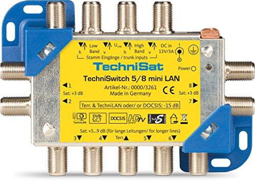 TechniSat TECHNISWITCH 5/8 MINI LAN, Multischalter / Satverteiler inkl. LAN für 8 Teilnehmer, 100m Entfernung überbrückbar, inkl. DOCSIS-Signal-Übertragung