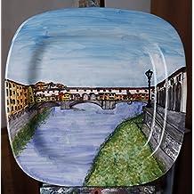 Ponte Vecchio a Firenze-Piatto decorato a mano dimensioni cm 38,5x38,5 cm-Made in Italy,Lucca toscana,certificato.
