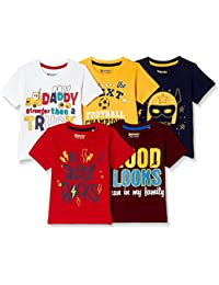 Donuts by Unlimited Baby Boys' Plain Regular Fit T-Shirt (Pack of 5)