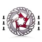 Prom-near Edelstahl 6 Blots 160mm Fahrrad Bremsscheibe 160mm Down Hill schwimmende Fahrradbremse sechs Nagel Disc (Red)