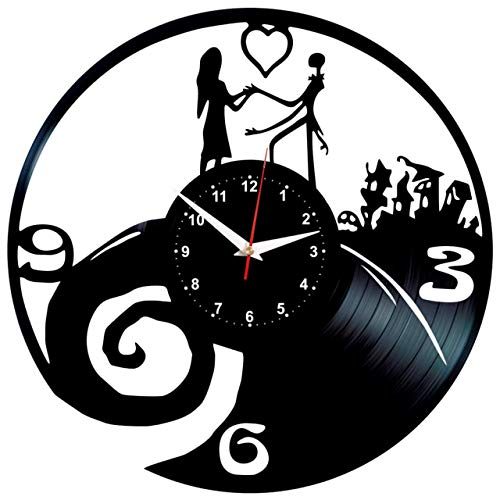 JACK SKELLINGTON SALLY NIGHTMARE THE NIGHTMARE BEFORE CHRISTMAS Wanduhr Vinyl Schallplatte Retro-Uhr groß Uhren Style Raum Home Dekorationen Tolles Geschenk Wanduhr JACK SKELLINGTON SALLY NIGHTMARE
