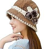 SEWORLD Heißer Einzigartiges Design Mode Damen Ohrenschützer Wollmütze Strickhut Modelle Dame Winter Warme Crochet Gestrickte Blumen Verziert Ohren Hut(Khaki)