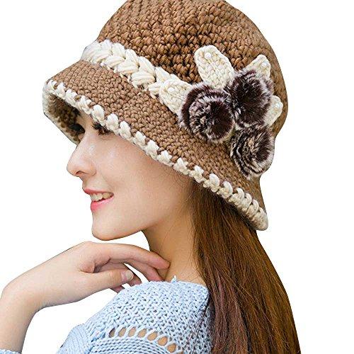 Strickmütze Liusdh Mode damen dame winter warme häkelarbeit gestrickte blumen verziert ohren hut(Khaki,1 * 1 * 1) -