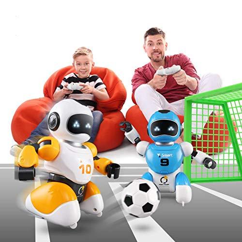 Fußball-Roboter, intelligente USB Rc Roboter, Kampf Fußball, Fußball singen tanzen, pädagogisches Spielzeug, rc Intelligente Fußball Roboter Spielzeug Eltern-Kind-Spielzeug (blau + Orange + Ziel)