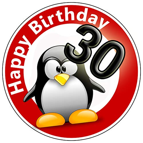 9 Stück Muffinaufleger Muffinfoto Aufleger Foto Bild Geburtstag Happy Birthday Schild 30 Jahre Pinguin rund ca. 6 cm *NEU*OVP* (Happy Birthday Essbare Kuchen Bilder)