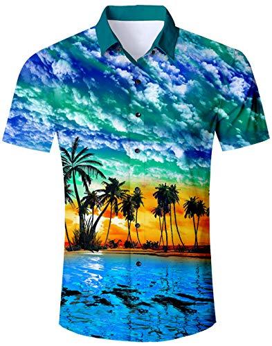 Loveternal Sommerhemd Herren 3D Kurzarm Hemd Hawaii Shirt Palme Hemden Comfort Fit Bunte Funky T-Shirt Rot L