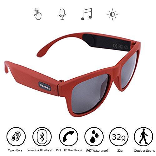 Bluetooth Hands Free-kopfhörer (NBZH Bone Conduction Kopfhörer Gläser, Auto, Sport Polarisierte Sonnenbrille Stereo Musik Wireless Bluetooth Wasserdicht Headset Mit Mikrofon Hand-Free Kompatibel Mit IOS/Android,Red)