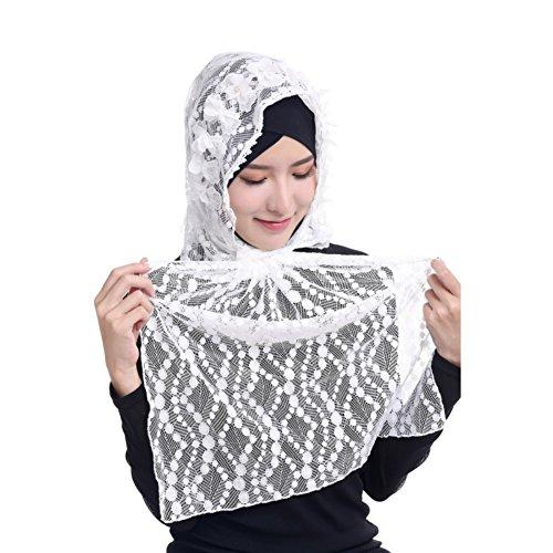 Hougood Hijab Kopftuch Muslim Hijab Schal für Damen Hijab Fertig Frauen Muslim Kopftuch Hijabs Cap Mädchen Spitze Hijabs Schals Cape Wickel Hijab Arabia Islam Turban Hijab Kopfstück 125cm x 48cm