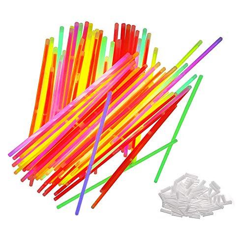 CAOLATOR LeuchtstabNeon Armband Party Fluoreszierende Armbänder Halskette Glow in The Dark Neon Sticks Weihnachtsfeier Liefert für Konzert/Geburtstag/Jahrestag/Valentine/Weihnachten (100 Stück)