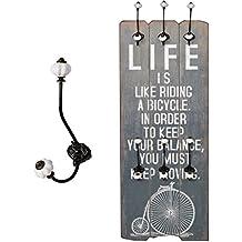 """Perchero Recibidor """"Life"""" con ganchos Madera 100 x 40 cm Estilo Shabby Vintage Alquería"""