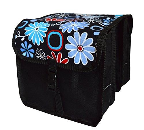 FAHRRADTASCHE Kinder Satteltasche Gepäckträgetasche Doppel 2 x 5l (2. Mini - Blumen)