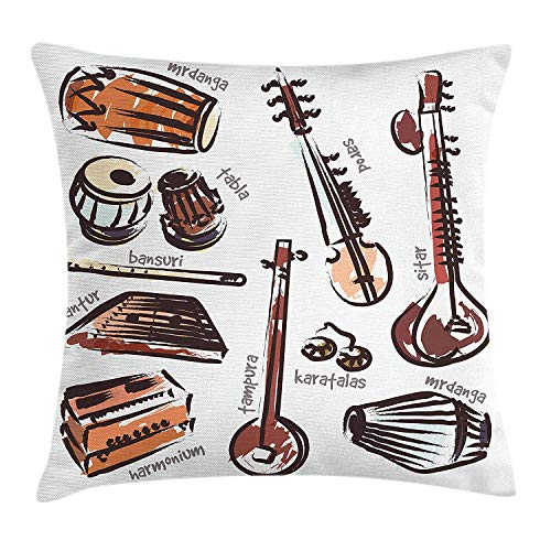 Tampura Throw Pillow Cushion Cover by Lunarable, Orchestra Retro Sitar and Tabla Middle Eastern Western Harmonium African Mrdanga, Decorative Square Accent Pillow Case, 18 X 18 Inches, Multicolor