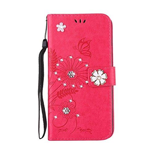 iPhone 6 Plus Hülle,iPhone 6S Plus Hülle,iPhone 6S Plus Lederhülle,iPhone 6 Plus/6S Plus Leder Wallet Tasche Brieftasche Schutzhülle,JAWSEU Handyhülle iPhone 6/6S Plus 5,5 Zoll Glänzend Glitzer Strass Rot
