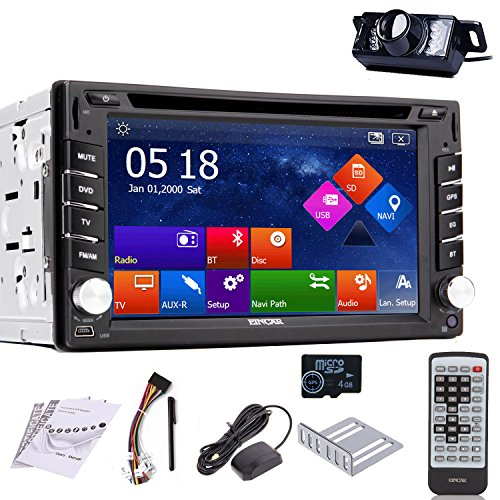 EinCar Rear Camera Included 2015 New Model GPS Car Stereo 6.2-Inch Capacitive Touch Screen Double-2 DIN In Dash Car DVD Player LCD Monitor with DVD/CD/MP3/MP4/USB/SD/AM/FM/RDS Radio/Bluetooth/Stereo/A