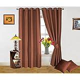 Dekor World Plain Brown Curtain And Cushion Combo.-Set Of 4 Pcs