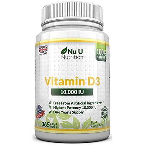 Vitamina D3 10,000 IU Da Nu U, 365 Softgels (Anno