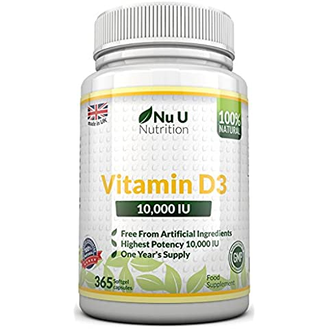 Vitamina D3 10,000 IU Da Nu U, 365 Softgels (Anno Completo Approvvigionamento) Vitamina D Rafforzante Ossa, Denti & Immune sistema- Senza Ingredienti Artificiali Alto Tenore 10,000 IU