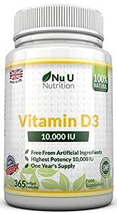 Vitamine D3 10,000 IU Par Nu U, 365 Gélules (Toute L'année Approvisionnement) Vitamine D Consolide Os, Dents & Immunitaire système- Aucun Ingrédient Artificiel - Grande Force 10,000 IU