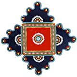Wooden Rangoli Decoration,Home Decor (43 Cm X 1 Cm X43 Cm, Red And Blue, Pack Of 5)
